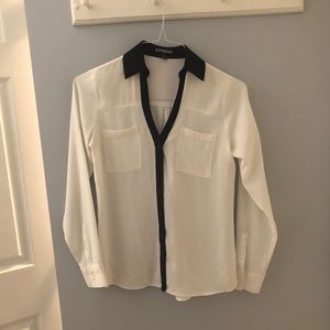 Express White with Black Trim Fit Portofino Blouse
